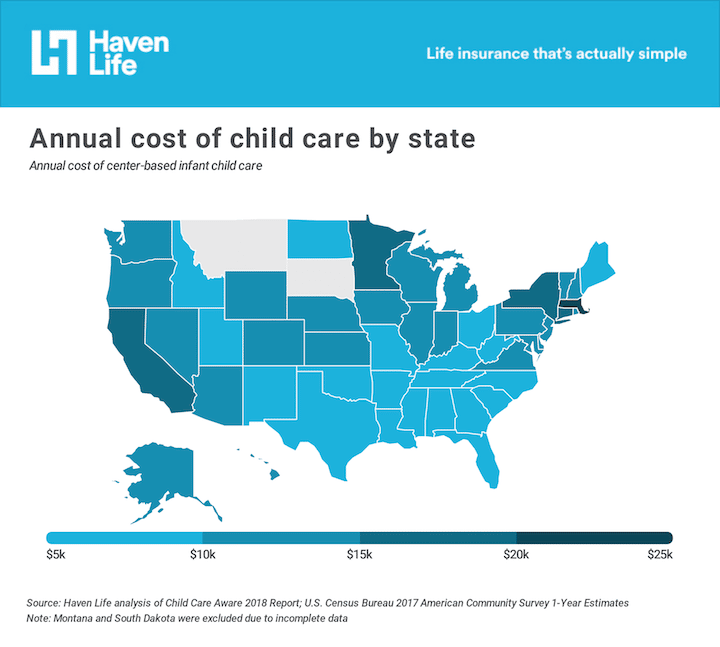 A map of the U.S. showing the scattered costs of annual childcare, from 5 to 25 thousand dollars